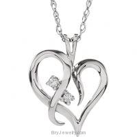 14K White Gold Diamond Fancy Heart Diamond Necklace