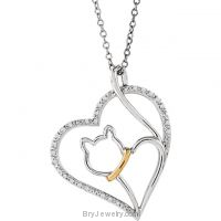 "10kt Yellow Gold & Sterling Silver 1/10 CTW Diamond Cat Heart 18"" Necklace"