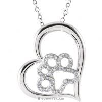 "Sterling Silver 1/6 CTW Diamond Paw with Heart 18"" Necklace"