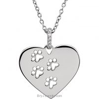 "Sterling Silver .02 CTW Diamond Heart Paw 18"" Necklace"
