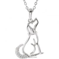 "Sterling Silver .06 CTW Diamond Dog 18"" Necklace"