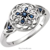 Sterling Silver Blue Sapphire & .03 CTW Diamond Ring