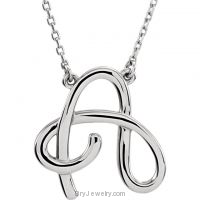 "Script Initial 16"" Necklace in Gold or Silver Initial A"