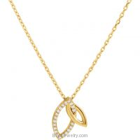 14K Gold Double Marquise .05 CTW Diamond Necklace