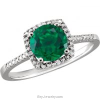 Emerald Sterling Silver Birthstone Ring