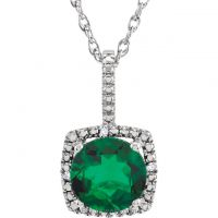 "Emerald Sterling Silver 7mm Gemstone .015 CTW Diamond 18"" Necklace"
