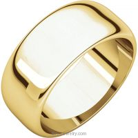 14K Yellow Gold 8mm Half Round Band