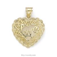 14K Gold Love Heart Filigree Diamond Cut Pendant