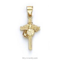 14K Gold US Marine Cross Pendant