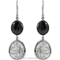 Genuine Onyx and Tourmalinated Quartz Earrings