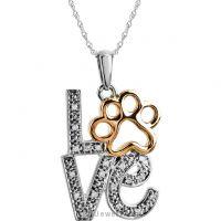 Tender Voices .05 ct tw Diamond Love Animal Paw Print Necklace