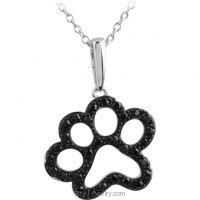 Tender Voices 1/3 ct tw Black Diamond Animal Paw Print Necklace