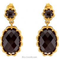14K Gold Plated Checkerboard Smoky Quartz Earrings