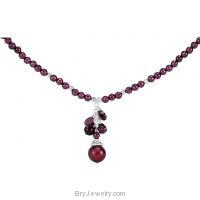 Freshwater Cultured Dyed Pearl Rhdolite Garnet Necklace