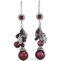 Rhodolite Garnet Freshwater Cultured Dyed Pearl Earrings