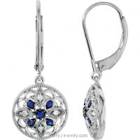 Genuine Blue Sapphire Diamond Lever Back Earrings