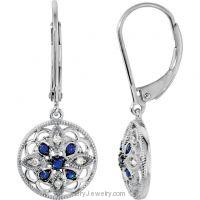 Genuine Blue Sapphire Diamond Lever Back Earrings