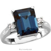 14K White London Blue Topaz Diamond Ring
