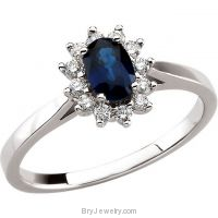14K White Oval Blue Sapphire Diamond Ring