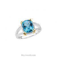Sterling Silver 14K Yellow Swiss Blue Topaz Ring