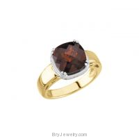 14K Yellow Mozambique Garnet Diamond Ring