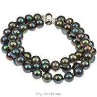Black Freshwater Cultured Pearl Triple Strand Bracelet