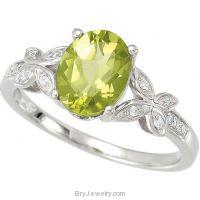 14K White Gold Peridot Diamond Butterfly Ring