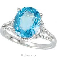 14K White Oval Swiss Blue Topaz Diamond Ring