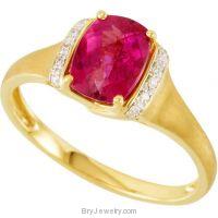 14K Yellow Rubellite and Diamond Ring