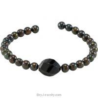 Gemstone & Freshwater Cultured Pearl Cuff Bracelet