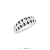 14K White Gold Blue Sapphire Diamond Ring