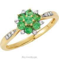14K Yellow Gold Tsavorite Garnet Diamond Ring