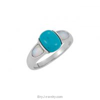 Sterling Silver Genuine Chinese Turquoise Opal Ring