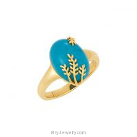 14K Gold Designer's Chinese Turquoise Ring
