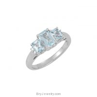 14K White Genuine Octagon Aquamarine Diamond Ring