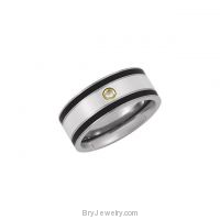 Titanium Band with Sterling Silver Inlay w/ Diamond