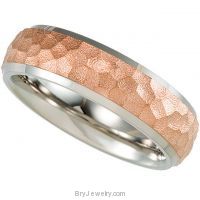 Titanium Hammered Band with 14KT Rose Immerse Plate