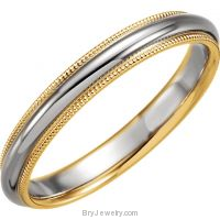 14K White/Gold Two Tone 3.5mm Comfort Fit Milgrain Band
