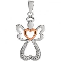 Sterling Silver Diamond Angel Pendant with Rose Gold Vermeil