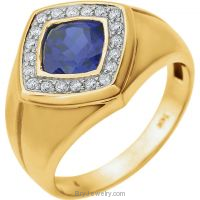 Men's Blue Sapphire and .025 CTW Diamond Ring
