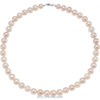 "Sterling Silver Freshwater Cultured Pink Pearl 18"" Necklace"