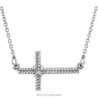 14K White Gold Sideways Rope Cross Necklace