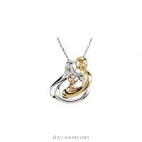Sterling Silver Tri-Color Embraced by the Heart Family Necklace