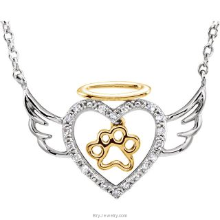 "Sterling Silver .08 CTW Diamond Angel Heart Paw 18"" Necklace"