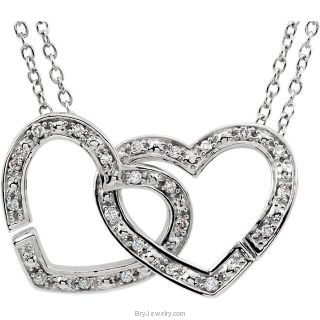 "Sterling Silver 1/6 CTW Diamond 2-in-1 Interlocking Heart 18"" Necklace"
