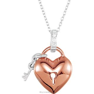 """Sterling Silver 14kt Rose Plated .05 CTW Diamond Heart 18"""" Necklace"""