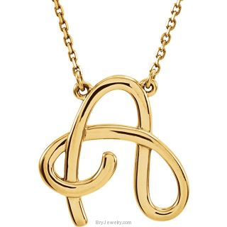 "Script Initial 16"" Necklace in Yellow Gold"