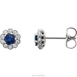 14kt White Blue Sapphire & Diamond Earrings