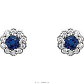 14kt White Blue Sapphire & 1/6 CTW Diamond Earrings