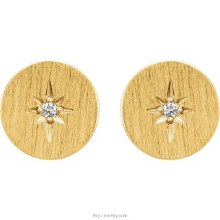 14K Gold Starburst .02 CTW Diamond Circle Earrings